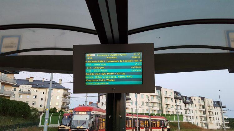 Public transport in Gdansk - bus stop board