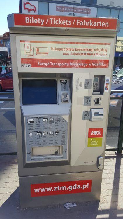 Transporte público en Gdansk - Máquina de billetes