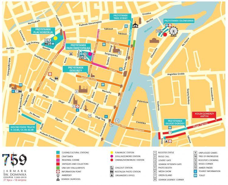 Feria de Santo Domingo en el mapa de Gdansk