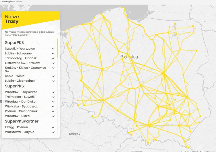 Map of SuperPKS buses in Poland
