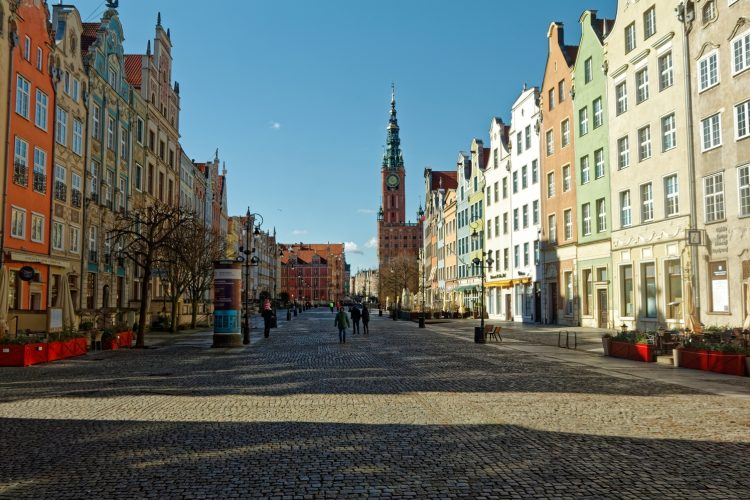 Coronavirus in Gdansk - empty city centre